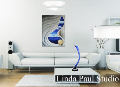 blue and white painting in white contemporary living room