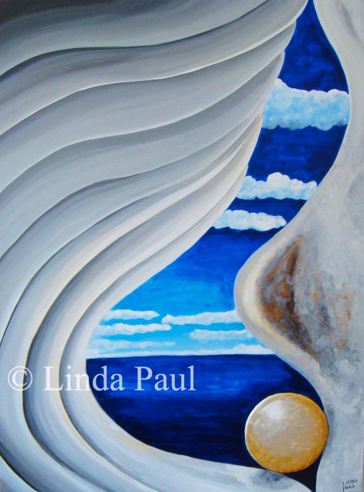 Abstract Contemporary Seashell Painting Of Shell In White