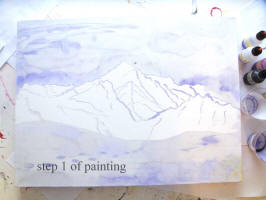 step 1 of moutain painting