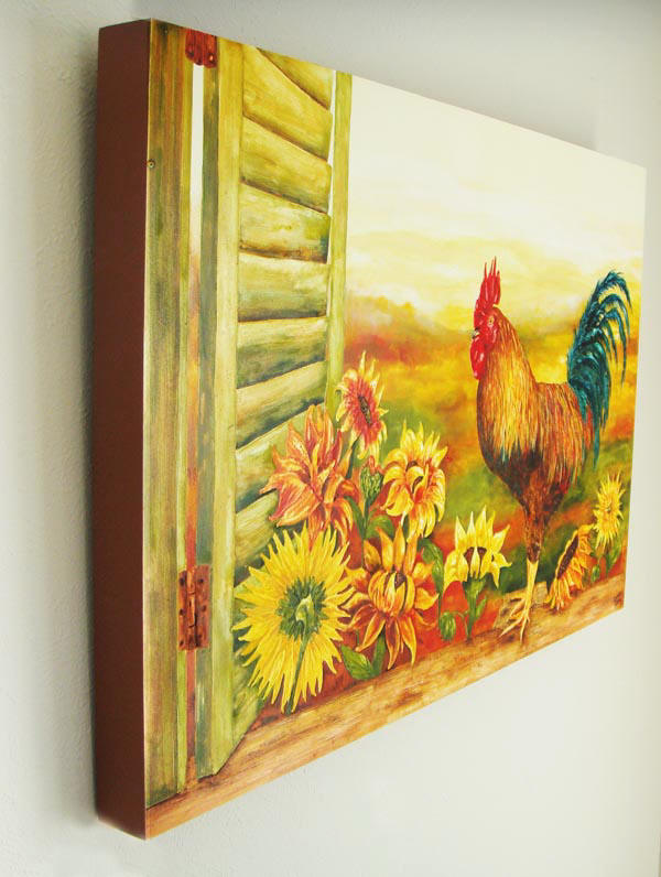 Sunflower and rooster decor kitchen art prints on canvas for Rooster home decor