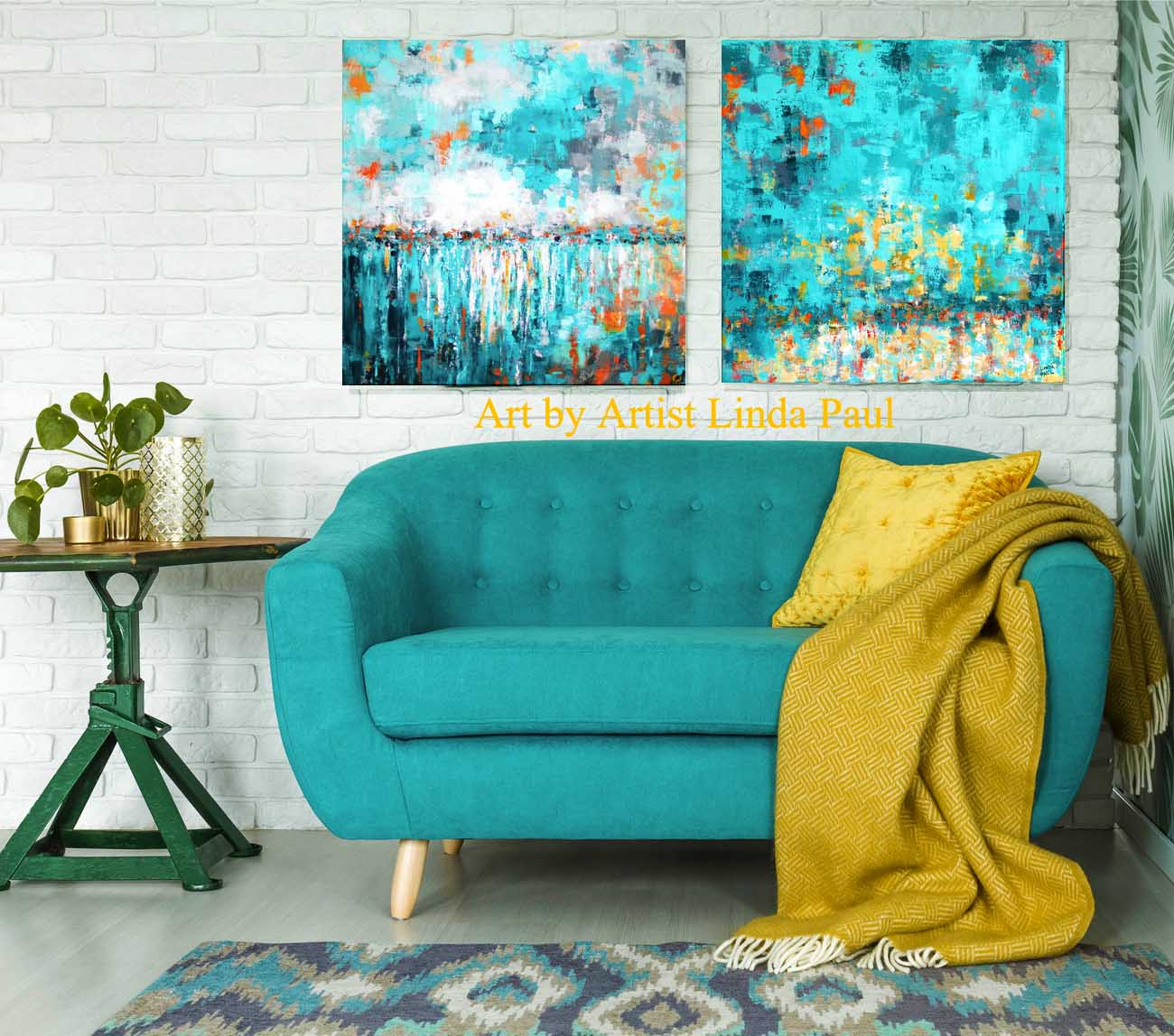 Stupendous Turquoise Abstract Art Paintings Home Interior And Landscaping Oversignezvosmurscom