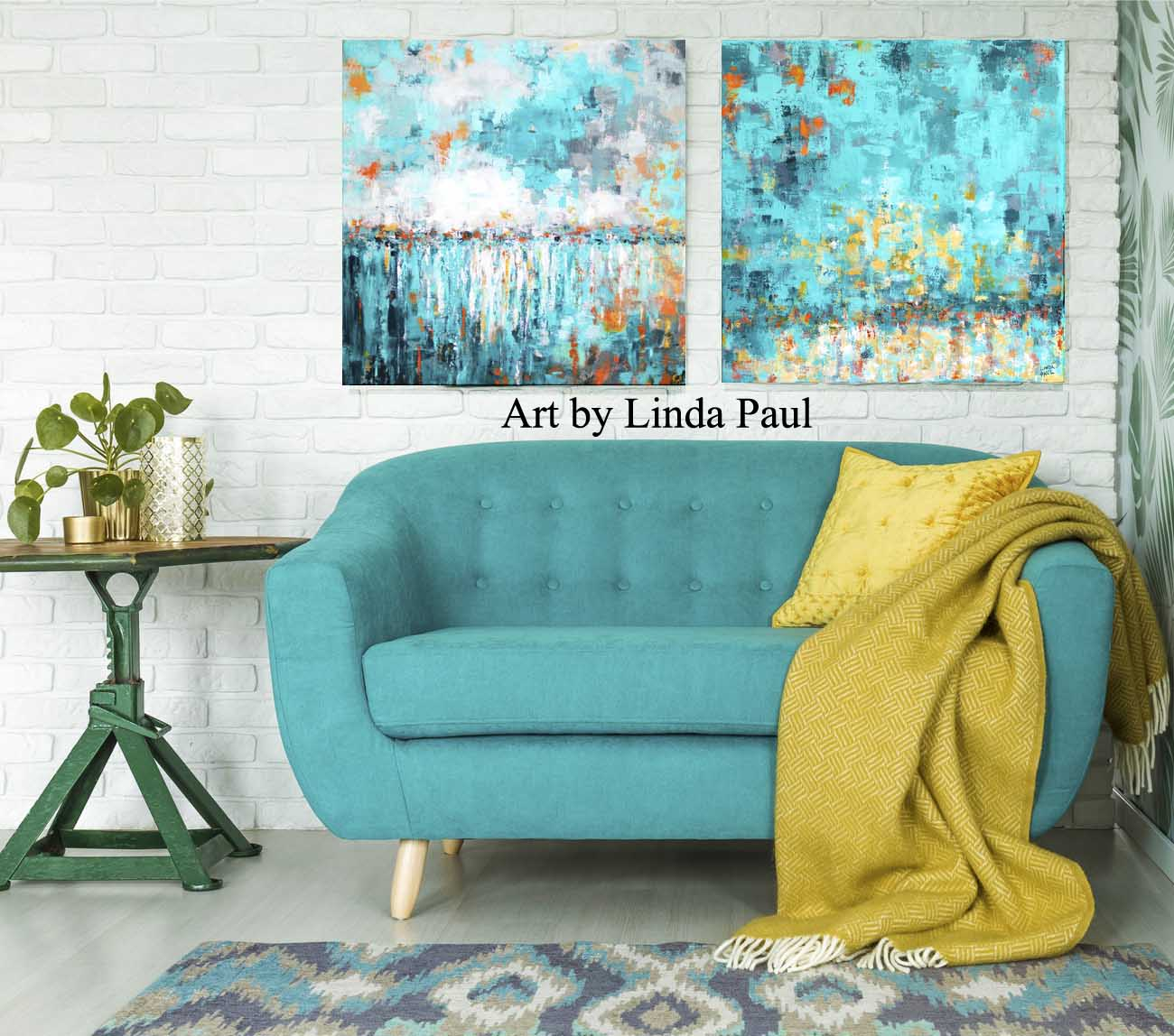 Turquoise Wall Art For Living Room Abstract Paintings