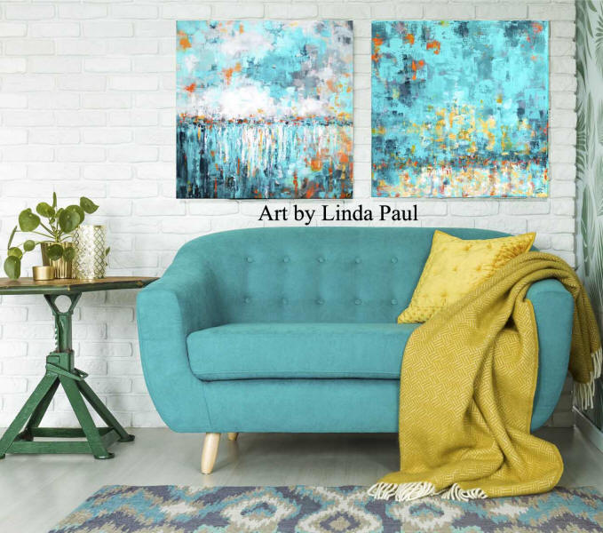wall art for living room  turquoise and yellow