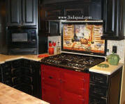 Louisiana Kitchen Mural with red range