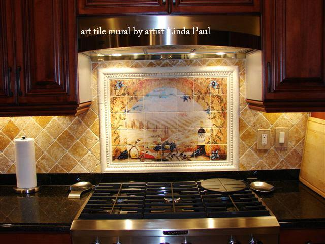Italian tile murals tuscany backsplash tiles for Tuscan style kitchen backsplash