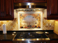 Tuscnay Arch splash back with border and diagonal field tiles