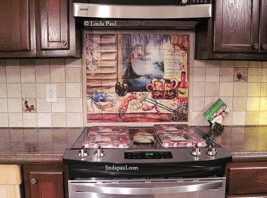 Louisiana kitchen tile backsplash cajun art tiles for Buy kitchen backsplash