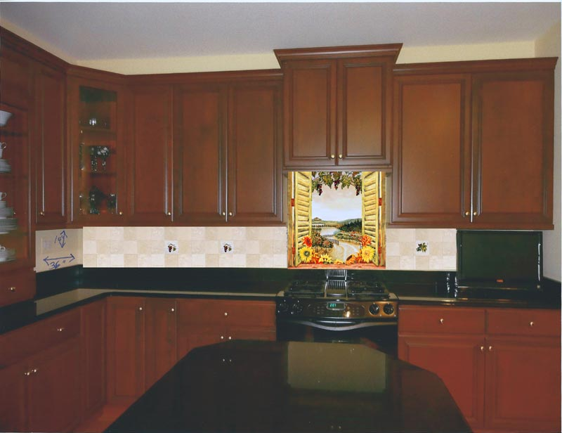 the customer showing how her space could look with a custom backsplash