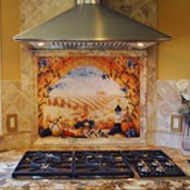 Tuscan kitchen backsplash tile murals and accents