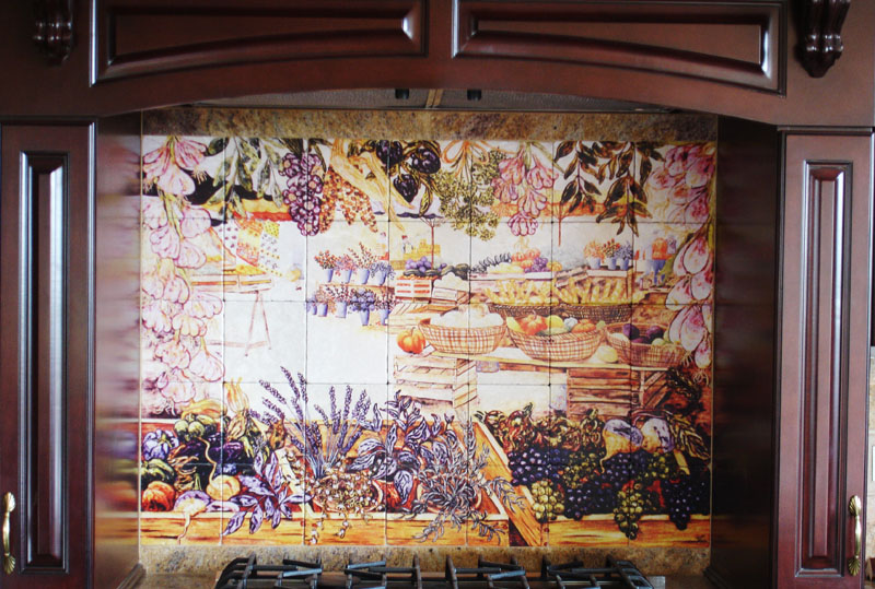 French food markets tile mural of market day in france for A perfect day mural