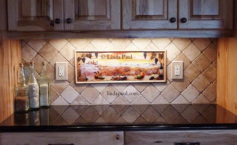 Tile Mural Of Tuscany Sunset Tuscan Kitchen Backsplashes
