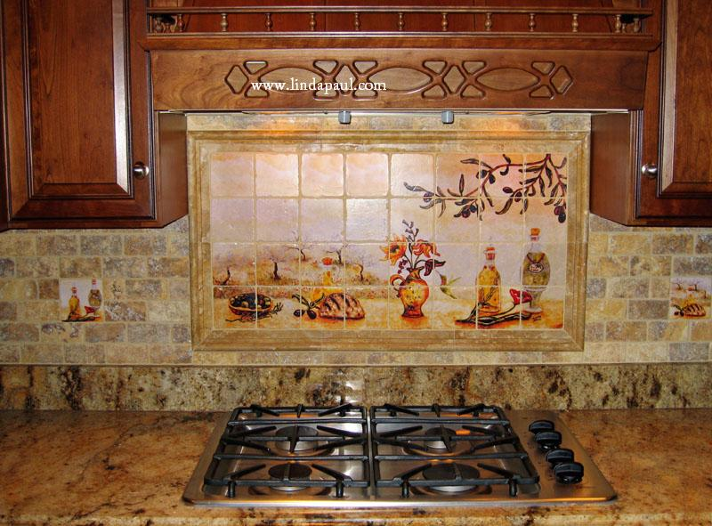 Olives tile mural backsplash of olive garden landscape for Ceramic tile mural backsplash