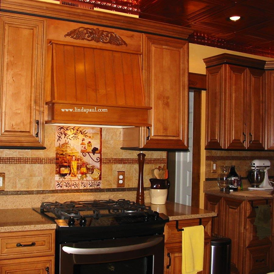 Gorgeous tuscan kitchen backsplash design Notice the copper on the