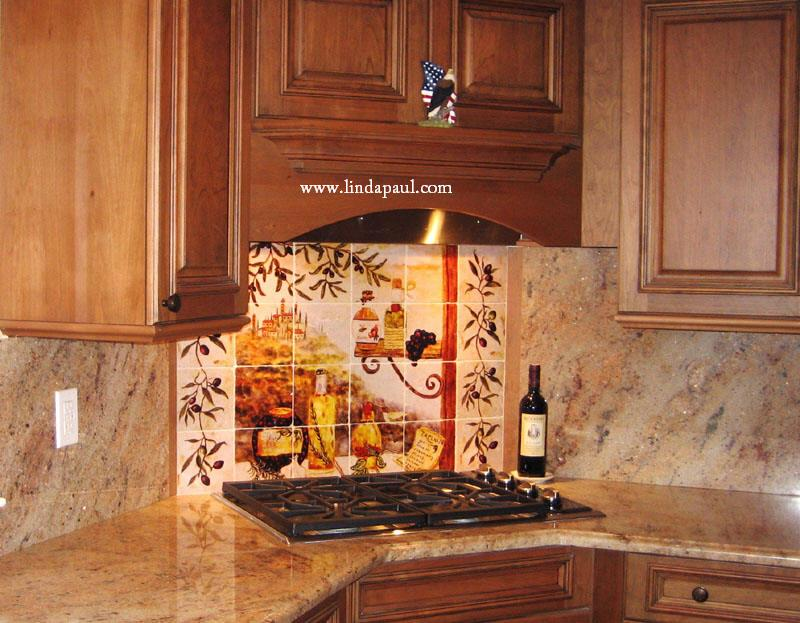 Tuscan backsplash tile murals tuscany design kitchen tiles for Backsplash tile mural