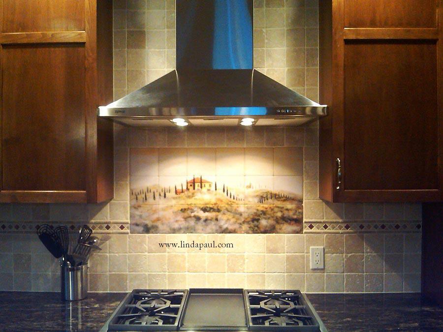 Tuscan tile murals kitchen backsplashes tuscany art tiles for Backsplash tile mural