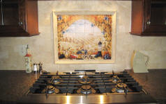 backsplash mural over stove