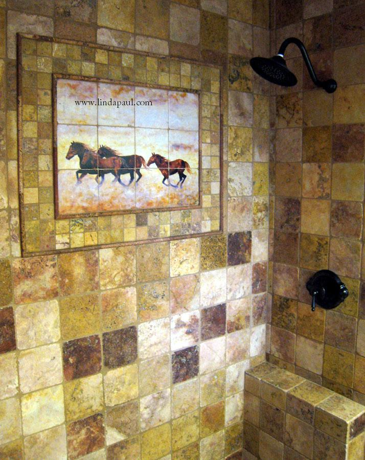 Wild hosres tiles in shower for Custom mural tiles