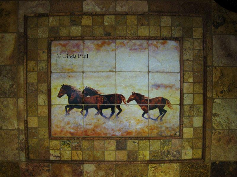 Horse murals kitchen tile backsplashes of horses horses for Backsplash tile mural