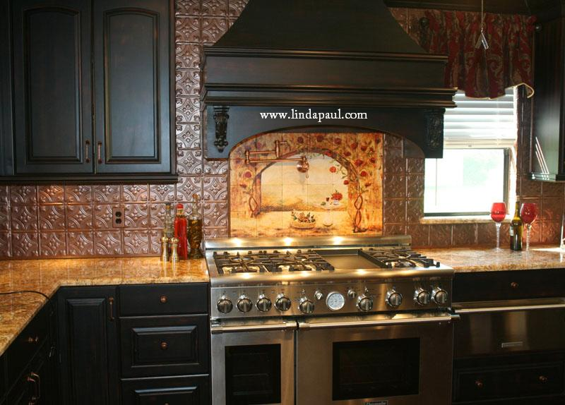 Tile murals kitchen backsplashes custom tile art for Backsplash tile mural