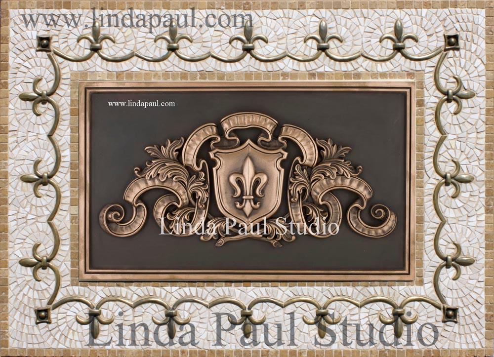 Metal murals for kitchen backsplash fleur de lis plaque for Plaque de metal adhesive