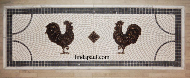 two roosters mosaic tile and metal medallion backsplash
