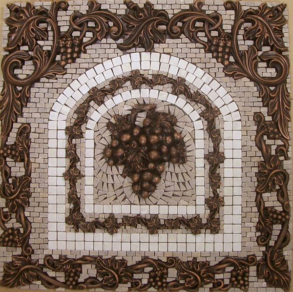 grapes mosaic tile medallion kitchen backsplash mural mosaics