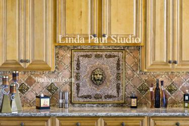 Lion Head Kitchen Backsplash Medallion Metal And Mosaic Tile