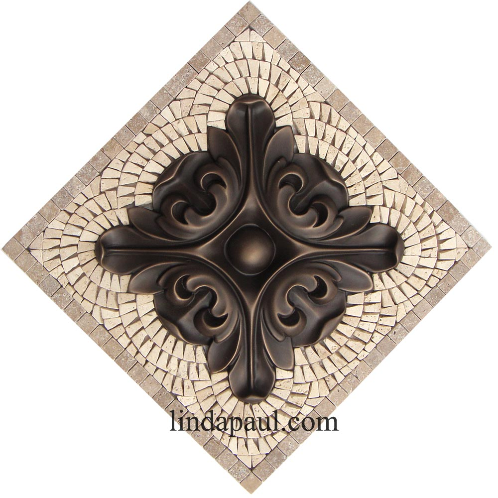 Kitchen Backsplash Small Medallions Fleur De Lis Flower