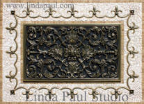 Ravenna metal plaque and mosaic tile medallion backsplash