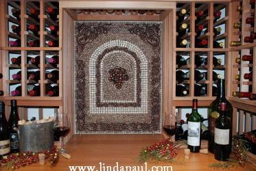 mosaic art tile backsplash in wine cellar