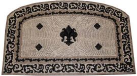 custom arched fleur de lis celeste back splash