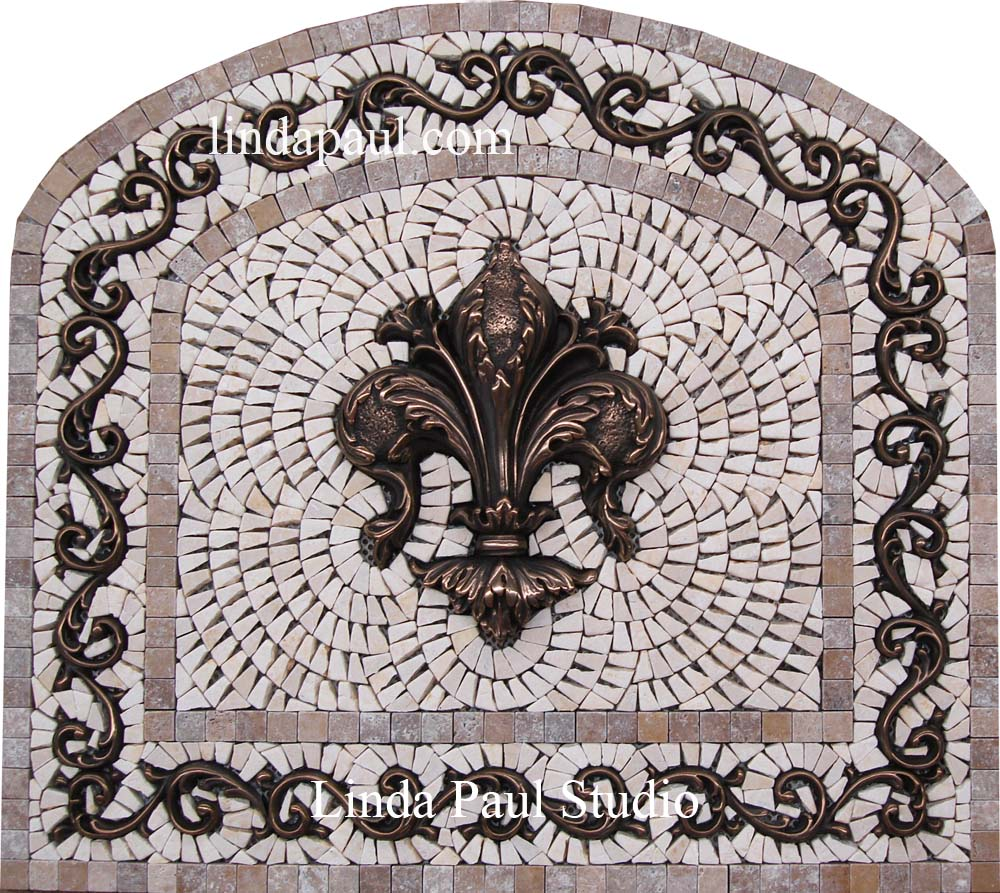 Arched Fleur de Lis Backsplash Tile Mosaic Medallion