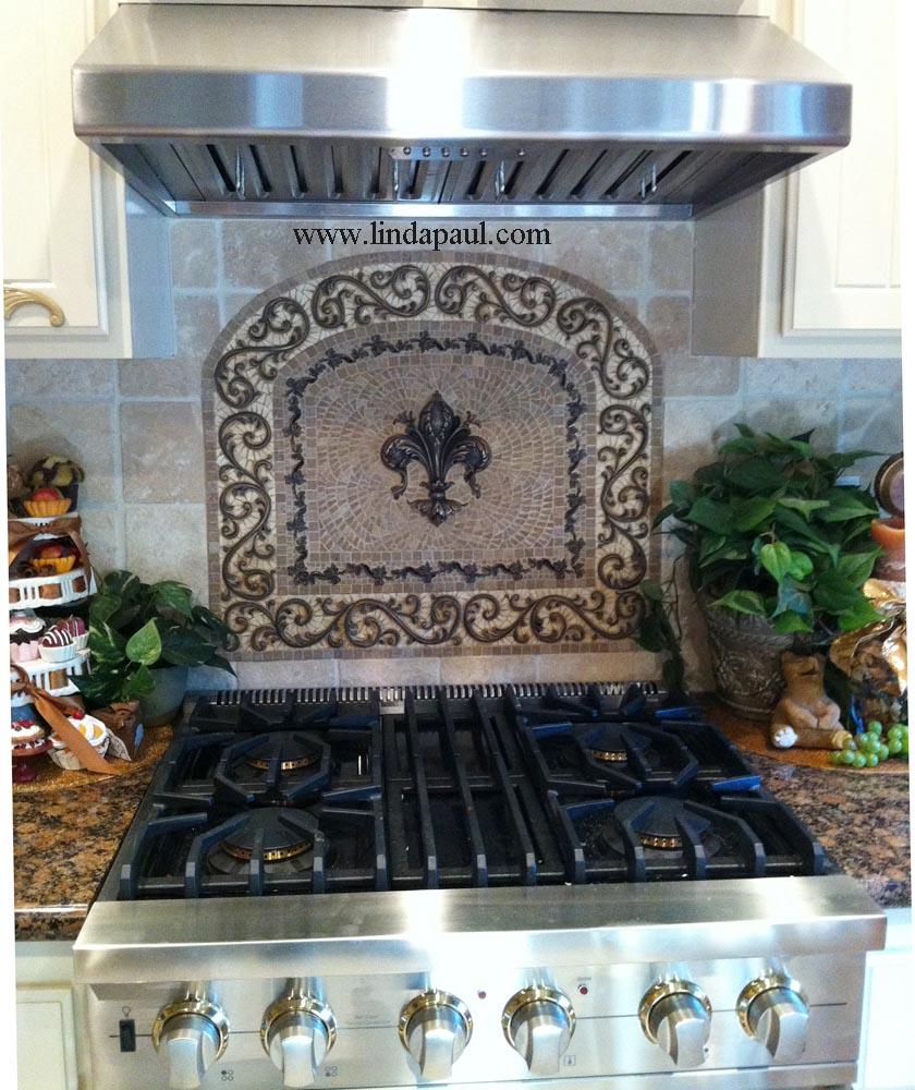 fleur de lis kitchen backsplash mosaic tile medallions