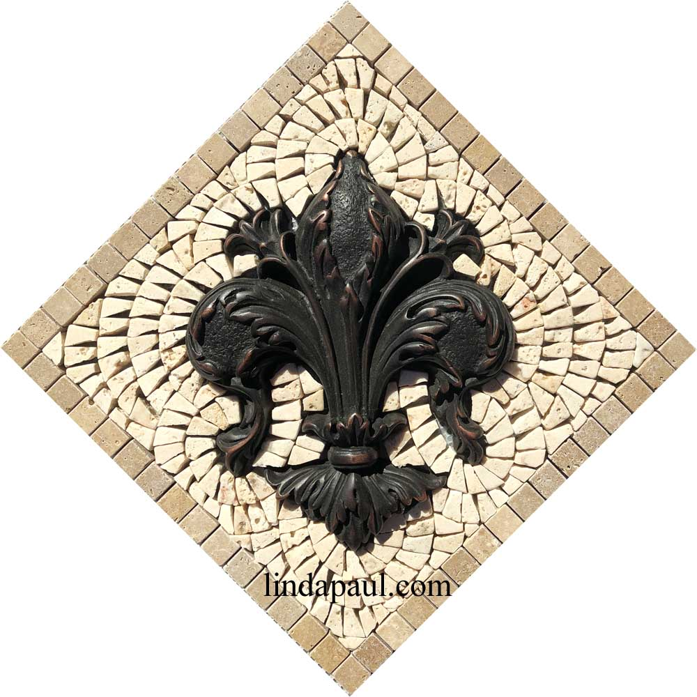 Fleur de Lis Tile Medallion Kitchen Backsplash Home Decor