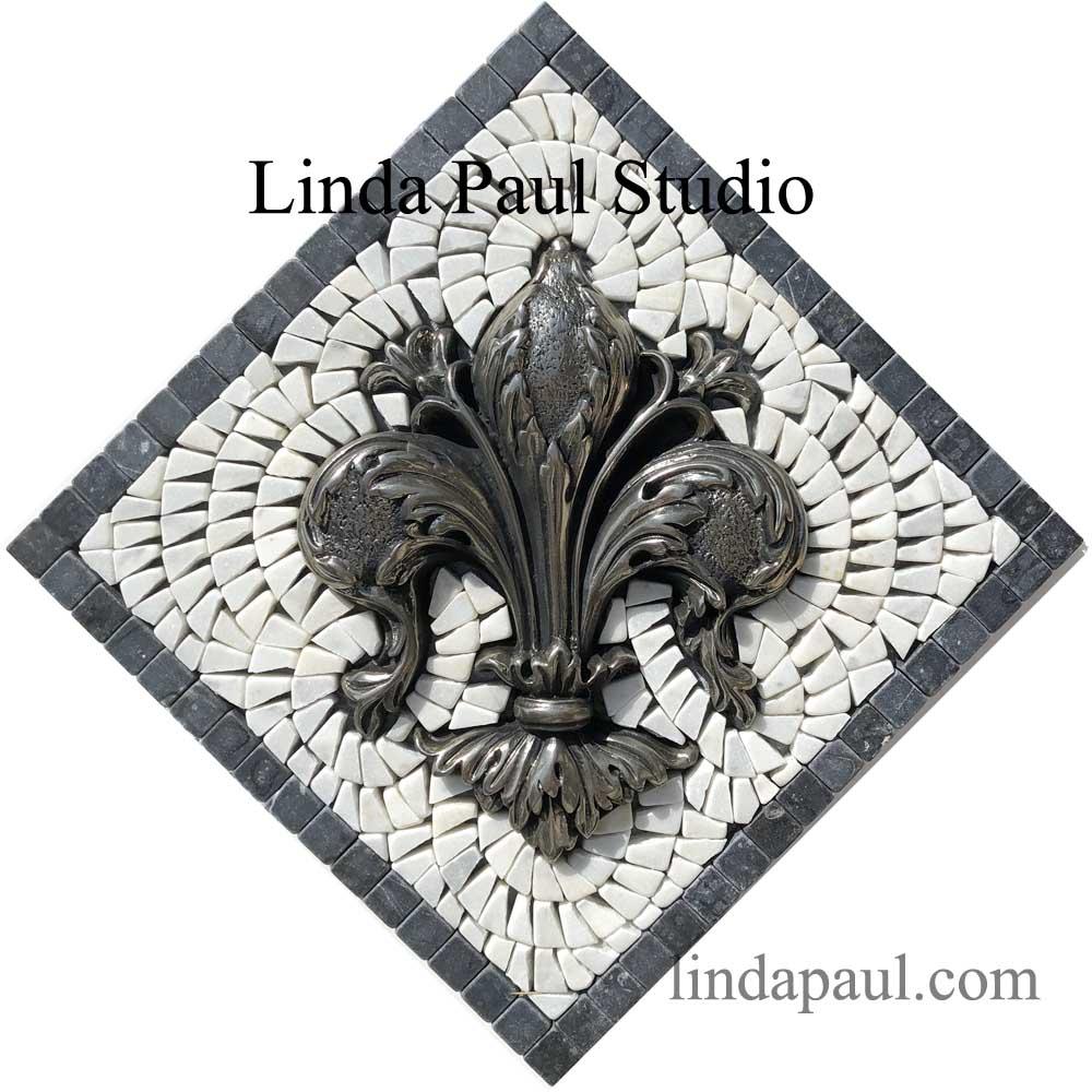 Fleur De Lis Mini Mosaic Tile Backsplash Medallion