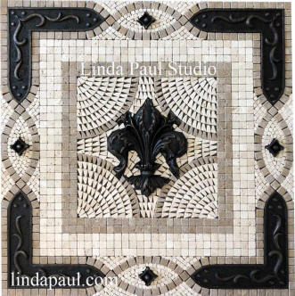 grand vienna flue de lis mosaic backsplash