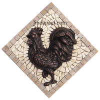 rooster kitchen backsplach mosiac tile and metal medallion