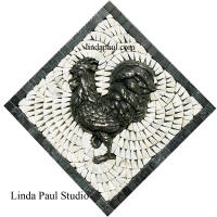 rooster mini medallion silver white marble