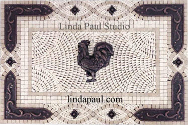 rooster tile mosaic medalliion with copper accents