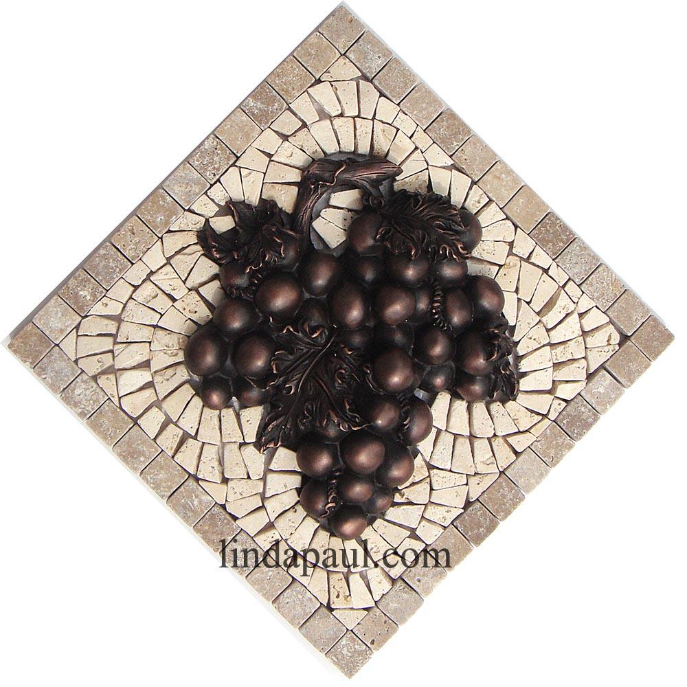 mini medallion collection small mosaic tile and metal backsplash
