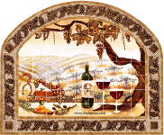 The Vineyard mural in mosaic tile frame