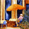 old man at cafe table