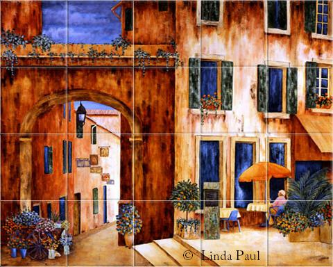 French Art Wall Murals On Tile Of Provence France