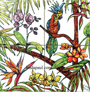 12 x 12 tile mural tropical flowers
