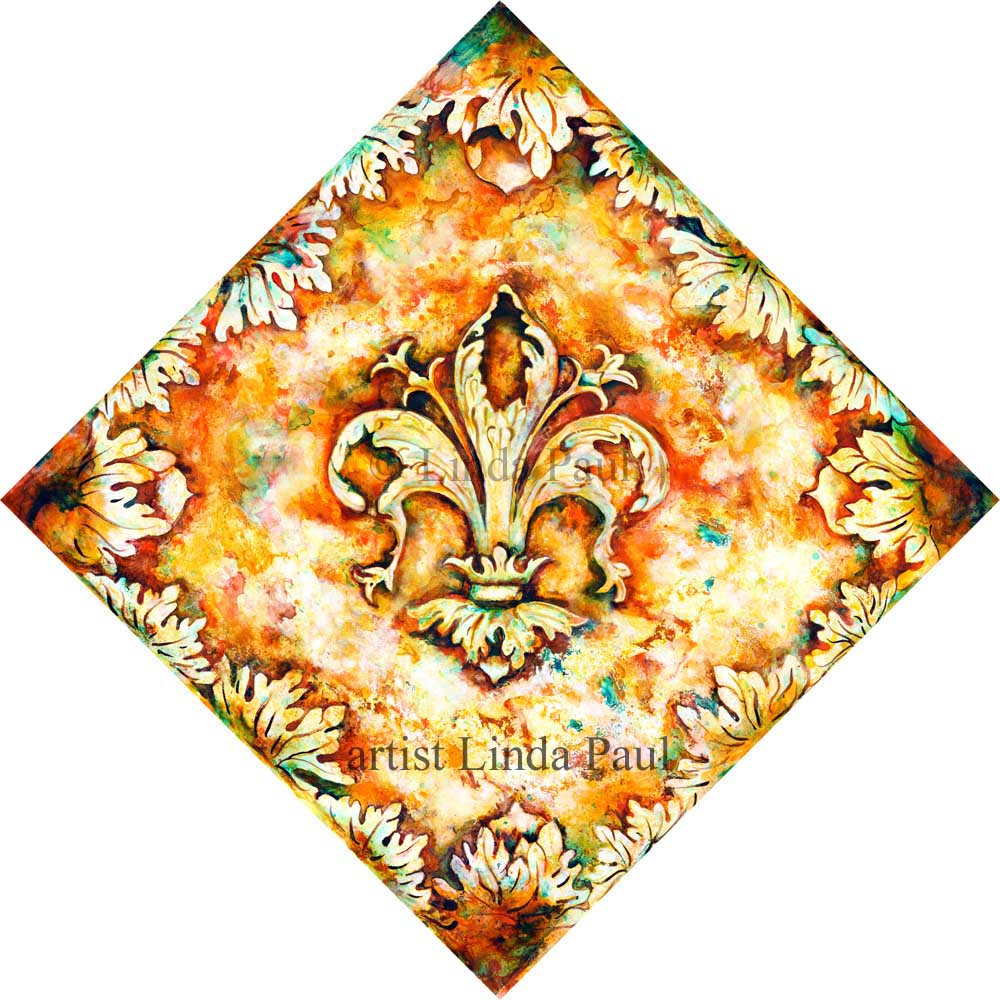 Fleur de Lis Decorative Ceramic Tile Art - Backsplash Wall Art Tiles