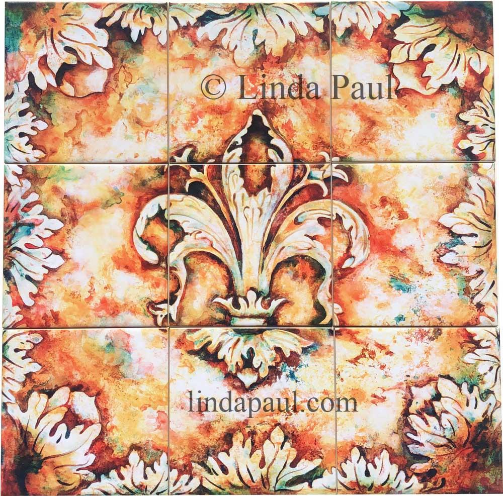 framed metal wall art.htm fleur de lis tile backsplash mural for kitchen wall decor  fleur de lis tile backsplash mural for