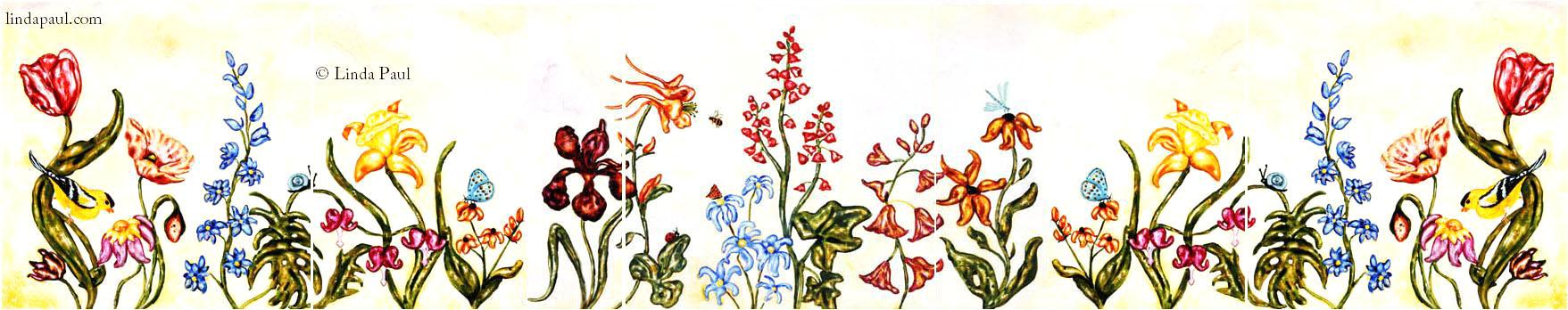 Flower Garden Tile Murals Backsplashes Of Flowers And Gardens