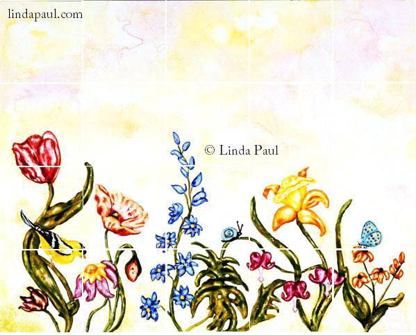 Flower garden tile murals backsplashes of flowers and for Mural of flowers