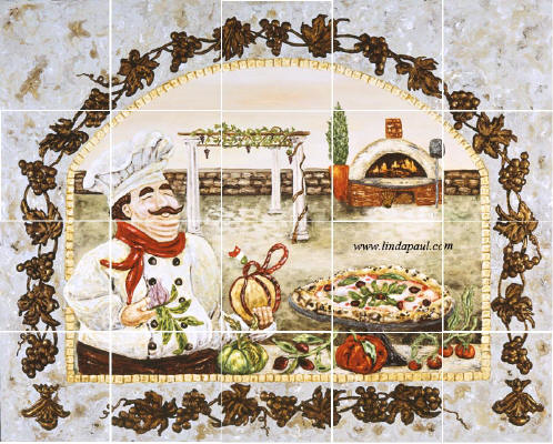 italian Pizza Kitchen mural backsplash