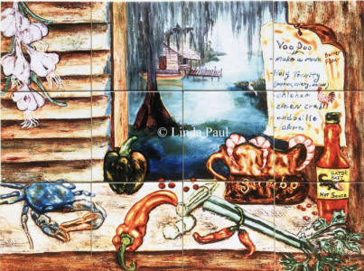 Louisiana tiles mural backsplash